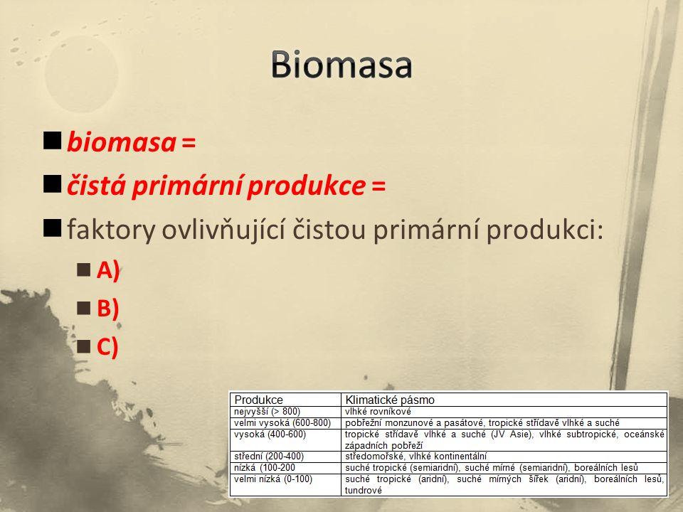 biomasa = čistá primární produkce = faktory ovlivňující čistou primární produkci: A) B) C)
