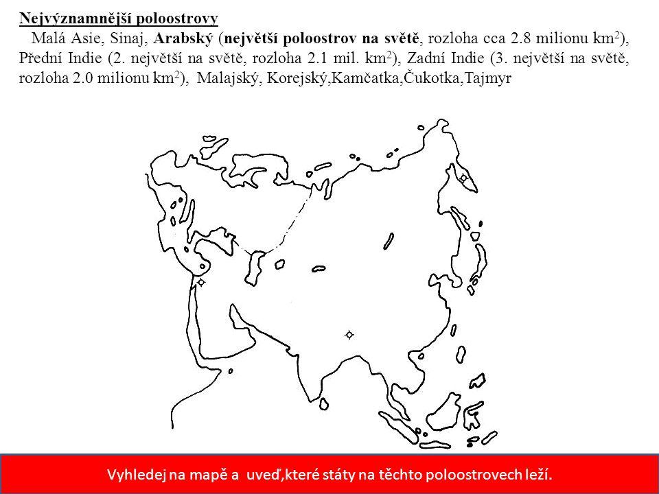 Nejvýznamnější poloostrovy Malá Asie, Sinaj, Arabský (největší poloostrov na světě, rozloha cca 2.8 milionu km 2 ), Přední Indie (2. největší na světě