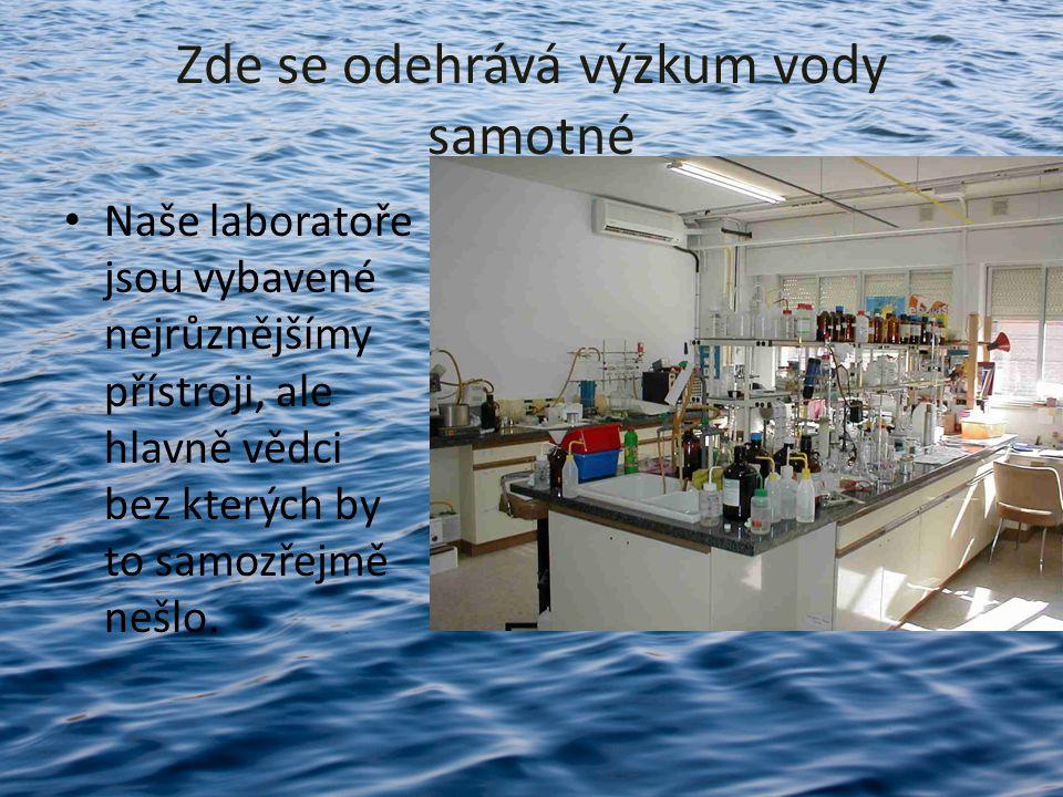 Zde se odehrává výzkum vody samotné Naše laboratoře jsou vybavené nejrůznějšímy přístroji, ale hlavně vědci bez kterých by to samozřejmě nešlo.