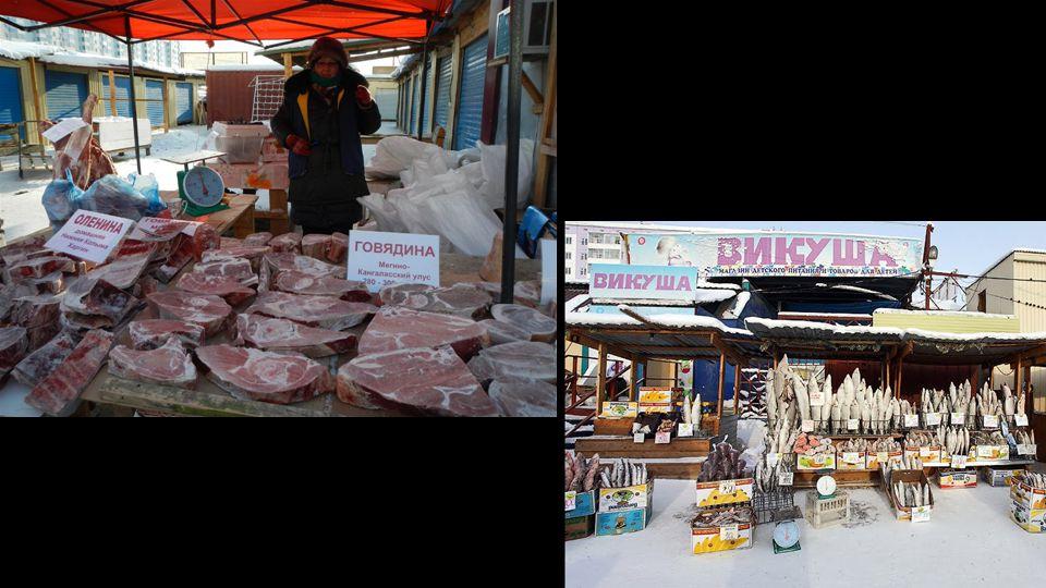 Prodej masa na ulici - lednice není třeba. V mrazáku při -17, je tepleji než venku.