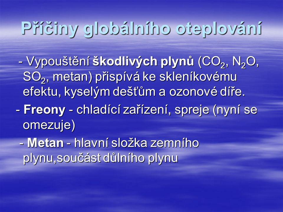 Příčiny globálního oteplování - Vypouštění škodlivých plynů (CO 2, N 2 O, SO 2, metan) přispívá ke skleníkovému efektu, kyselým dešťům a ozonové díře.