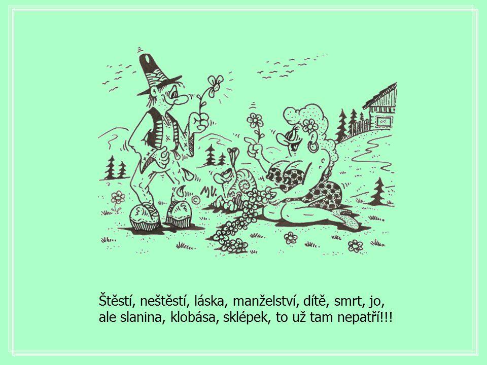 Štěstí, neštěstí, láska, manželství, dítě, smrt, jo, ale slanina, klobása, sklépek, to už tam nepatří!!!