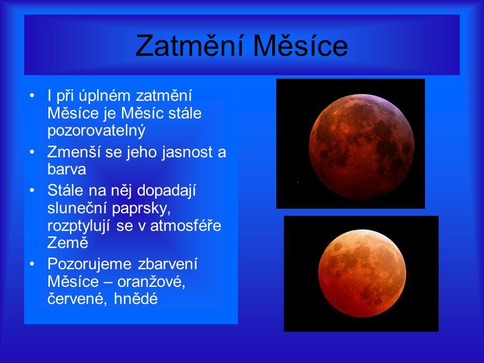 Zatmění Měsíce I při úplném zatmění Měsíce je Měsíc stále pozorovatelný Zmenší se jeho jasnost a barva Stále na něj dopadají sluneční paprsky, rozptylují se v atmosféře Země Pozorujeme zbarvení Měsíce – oranžové, červené, hnědé