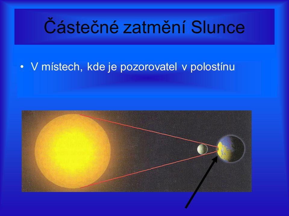 Částečné zatmění Slunce V místech, kde je pozorovatel v polostínu