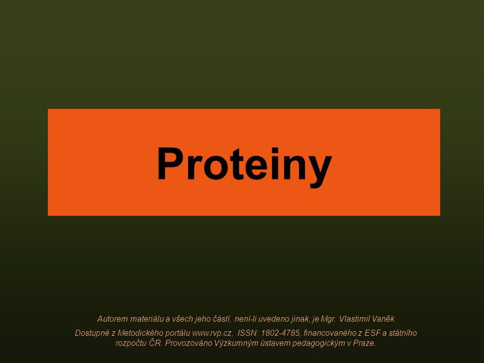 Proteiny Autorem materiálu a všech jeho částí, není-li uvedeno jinak, je Mgr. Vlastimil Vaněk Dostupné z Metodického portálu www.rvp.cz, ISSN: 1802-47