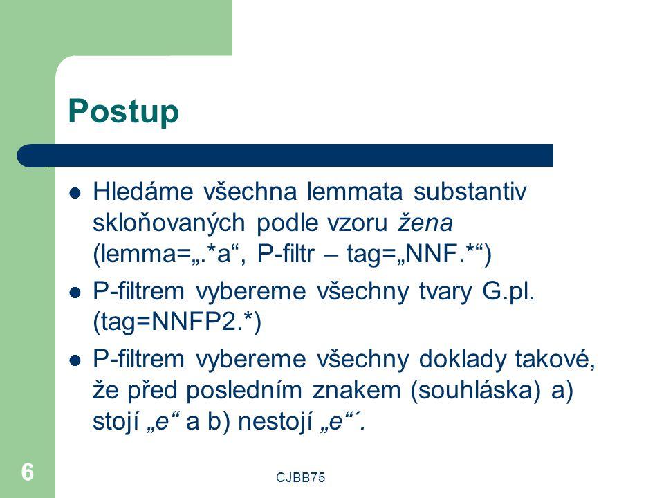 """CJBB75 6 Postup Hledáme všechna lemmata substantiv skloňovaných podle vzoru žena (lemma="""".*a , P-filtr – tag=""""NNF.* ) P-filtrem vybereme všechny tvary G.pl."""