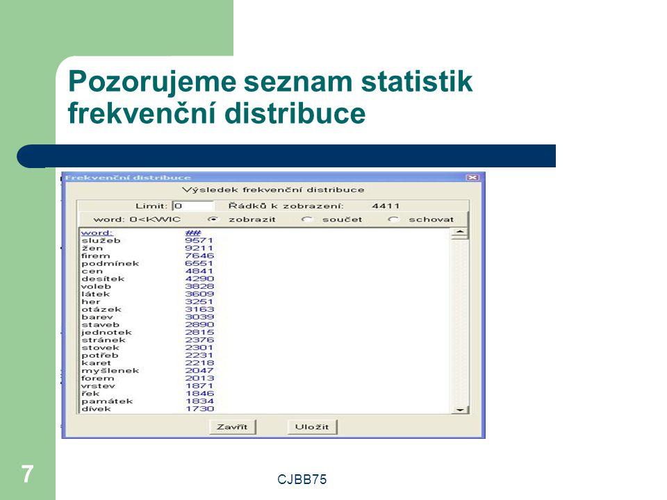 CJBB75 7 Pozorujeme seznam statistik frekvenční distribuce