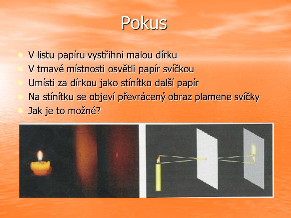 Pokus V listu papíru vystřihni malou dírku V listu papíru vystřihni malou dírku V tmavé místnosti osvětli papír svíčkou V tmavé místnosti osvětli papí