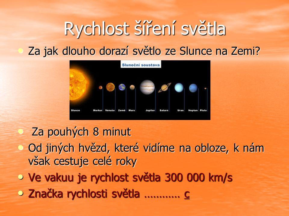 Rychlost šíření světla Za jak dlouho dorazí světlo ze Slunce na Zemi? Za jak dlouho dorazí světlo ze Slunce na Zemi? Za pouhých 8 minut Za pouhých 8 m