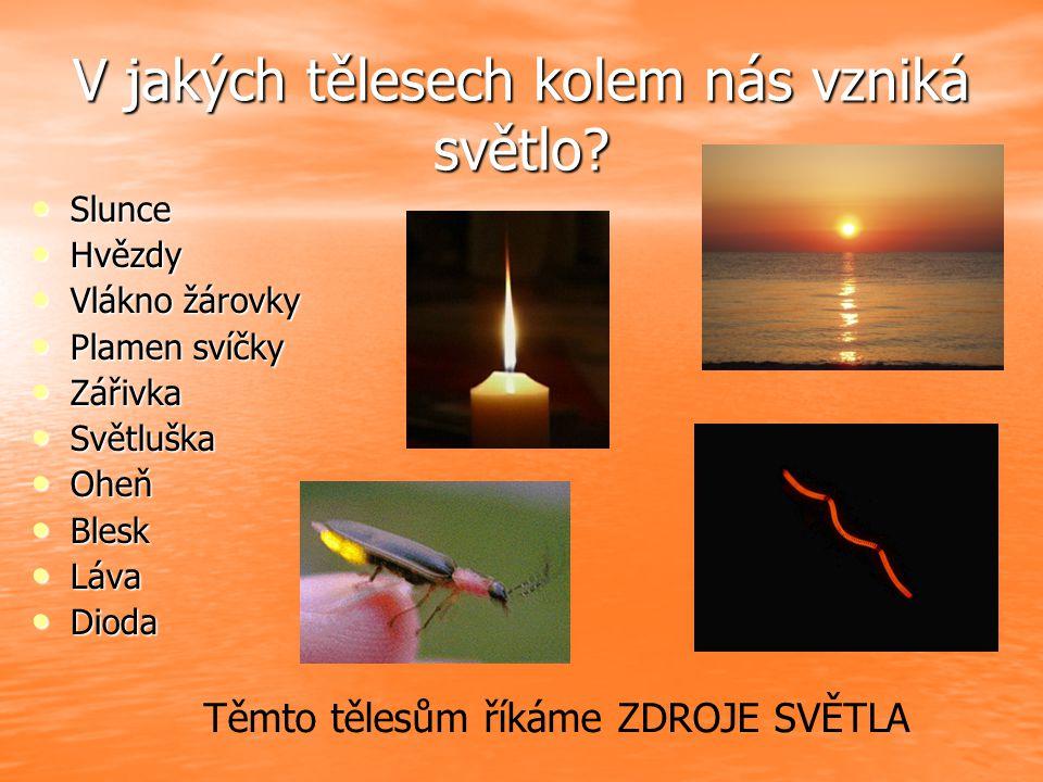 V jakých tělesech kolem nás vzniká světlo? Slunce Slunce Hvězdy Hvězdy Vlákno žárovky Vlákno žárovky Plamen svíčky Plamen svíčky Zářivka Zářivka Světl