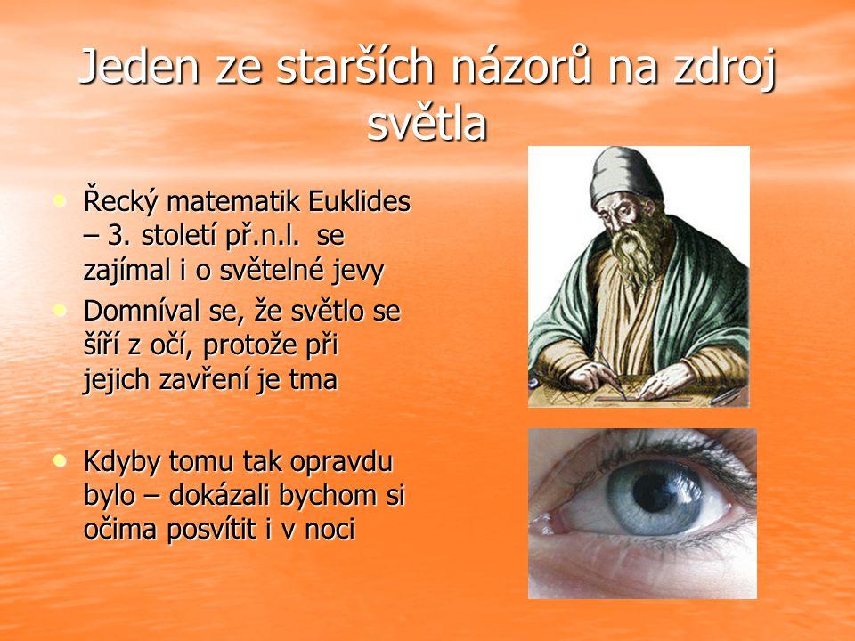 Jeden ze starších názorů na zdroj světla Řecký matematik Euklides – 3.