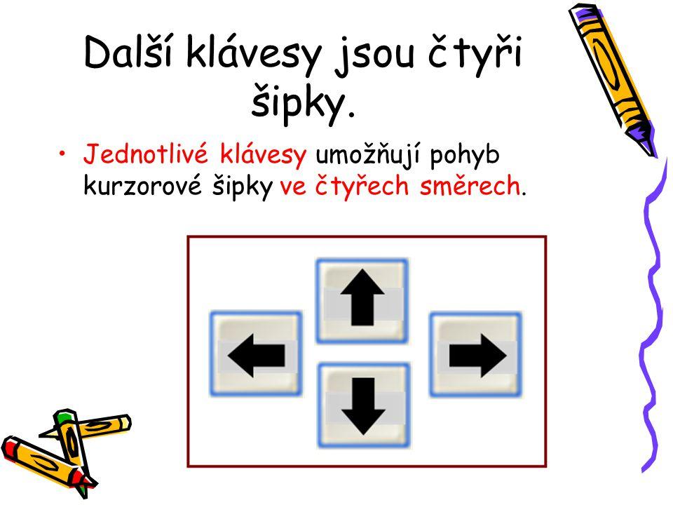 Další klávesy jsou čtyři šipky. Jednotlivé klávesy umožňují pohyb kurzorové šipky ve čtyřech směrech.