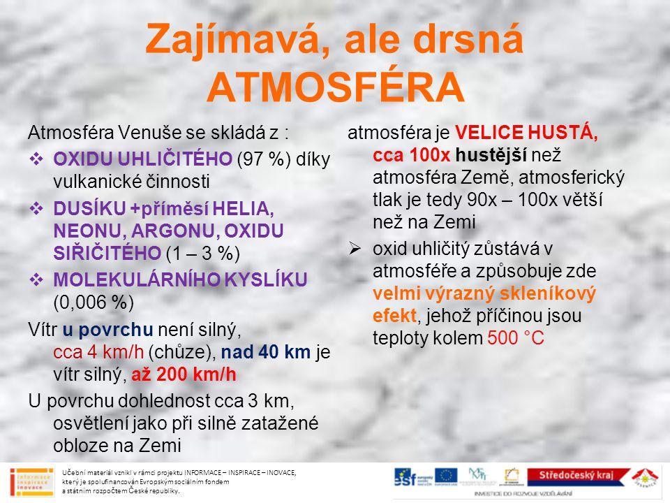Zajímavá, ale drsná ATMOSFÉRA Atmosféra Venuše se skládá z :  OXIDU UHLIČITÉHO (97 %) díky vulkanické činnosti  DUSÍKU +příměsí HELIA, NEONU, ARGONU