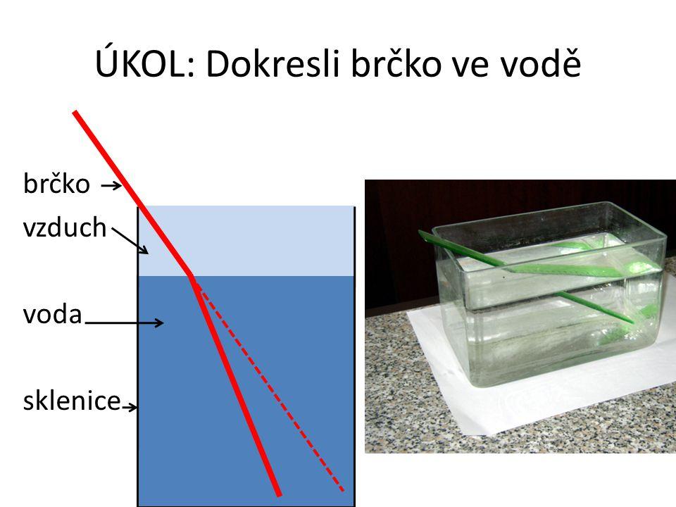 ÚKOL: Dokresli brčko ve vodě brčko vzduch voda sklenice