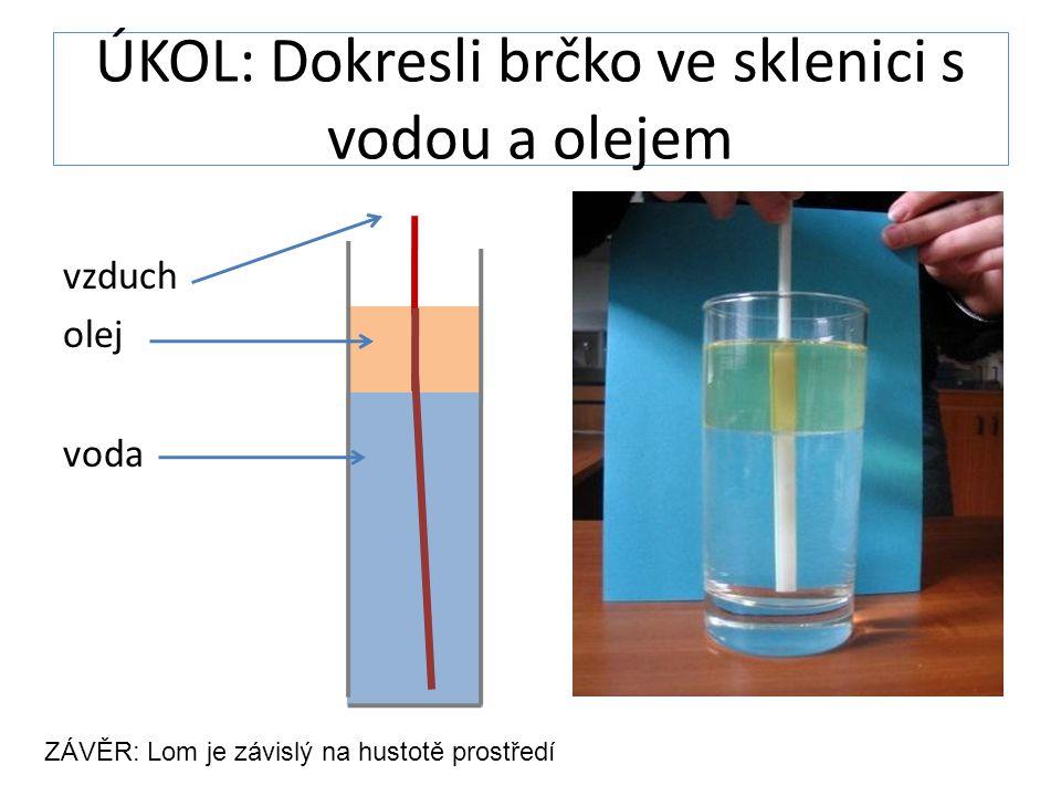 ÚKOL: Dokresli brčko ve sklenici s vodou a olejem vzduch olej voda ZÁVĚR: Lom je závislý na hustotě prostředí