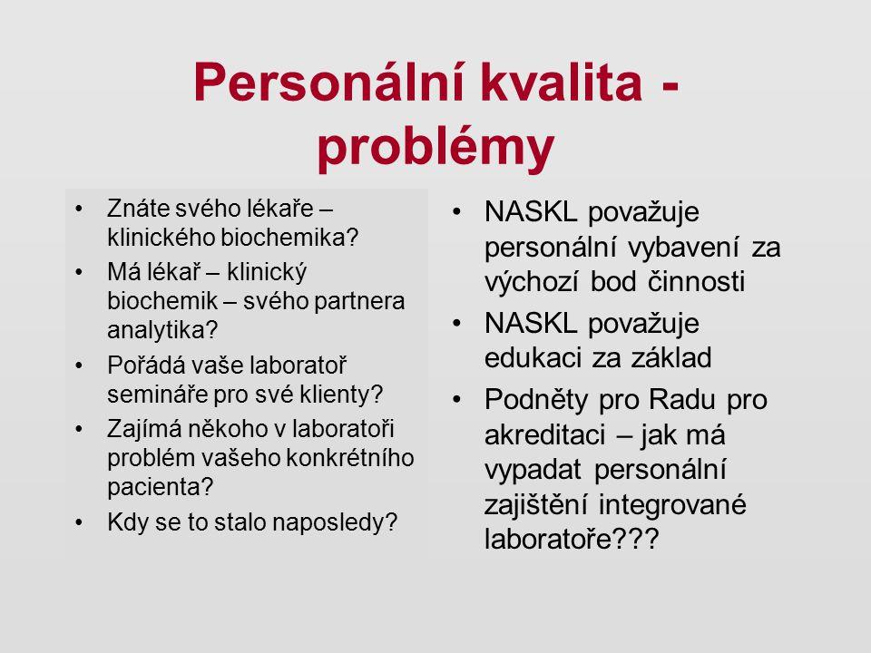 Personální kvalita - problémy Znáte svého lékaře – klinického biochemika? Má lékař – klinický biochemik – svého partnera analytika? Pořádá vaše labora