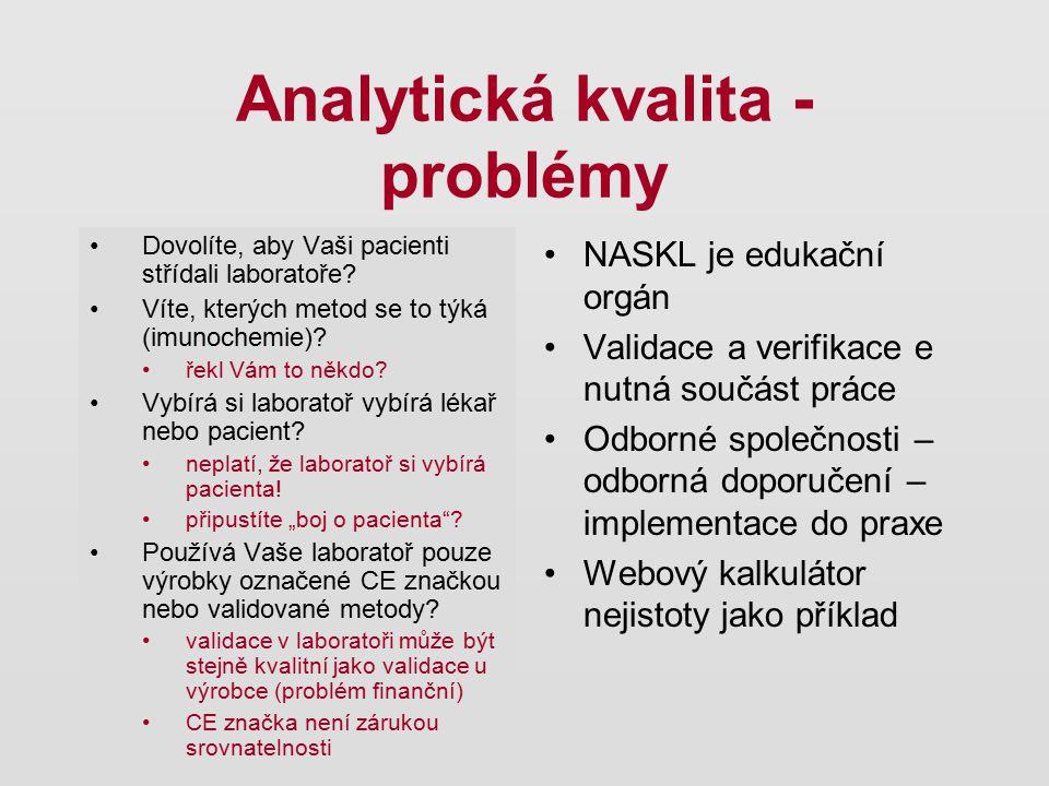 Analytická kvalita - problémy Dovolíte, aby Vaši pacienti střídali laboratoře? Víte, kterých metod se to týká (imunochemie)? řekl Vám to někdo? Vybírá