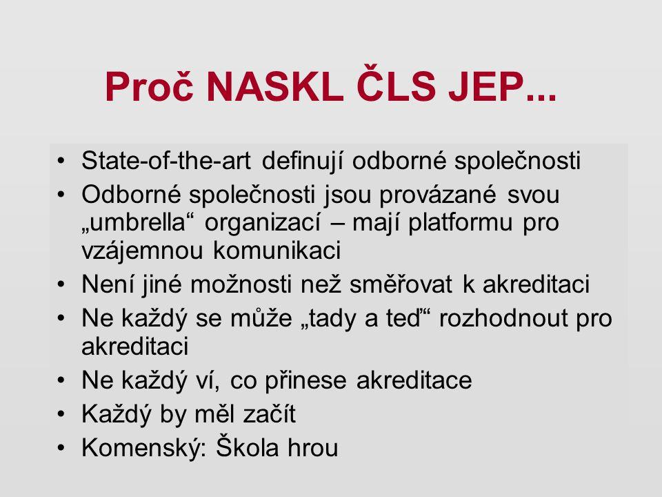 """Proč NASKL ČLS JEP... State-of-the-art definují odborné společnosti Odborné společnosti jsou provázané svou """"umbrella"""" organizací – mají platformu pro"""