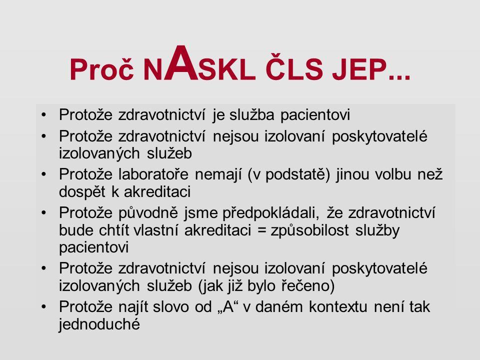 Proč N A SKL ČLS JEP... Protože zdravotnictví je služba pacientovi Protože zdravotnictví nejsou izolovaní poskytovatelé izolovaných služeb Protože lab