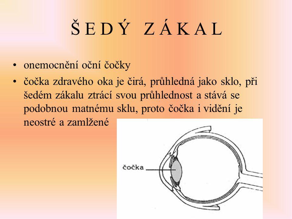 Š E D Ý Z Á K A L onemocnění oční čočky čočka zdravého oka je čirá, průhledná jako sklo, při šedém zákalu ztrácí svou průhlednost a stává se podobnou
