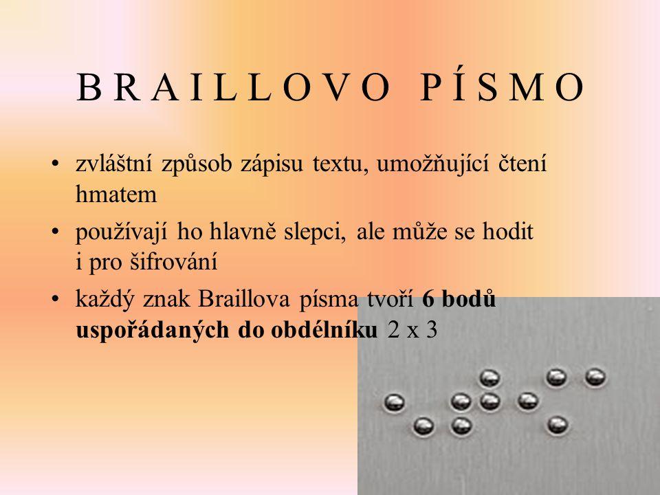 B R A I L L O V O P Í S M O zvláštní způsob zápisu textu, umožňující čtení hmatem používají ho hlavně slepci, ale může se hodit i pro šifrování každý