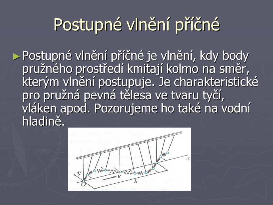 Postupné vlnění podélné ► Postupné vlnění podélné, při němž částice pružného vlnění kmitají ve směru, kterým vlnění postupuje.