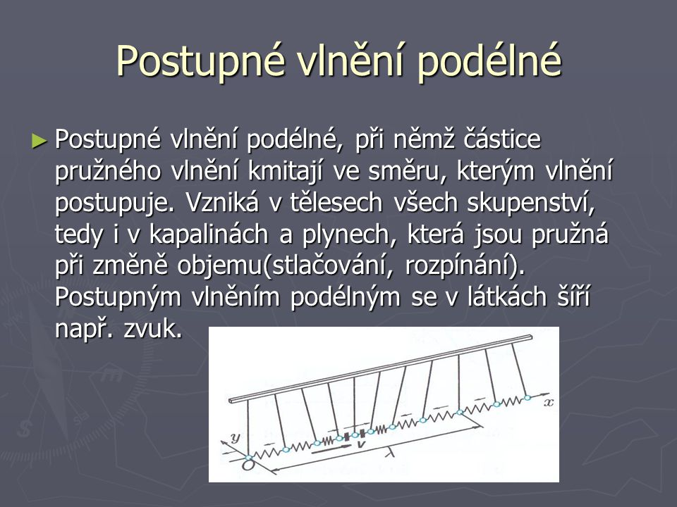 Postupné vlnění podélné ► Postupné vlnění podélné, při němž částice pružného vlnění kmitají ve směru, kterým vlnění postupuje. Vzniká v tělesech všech