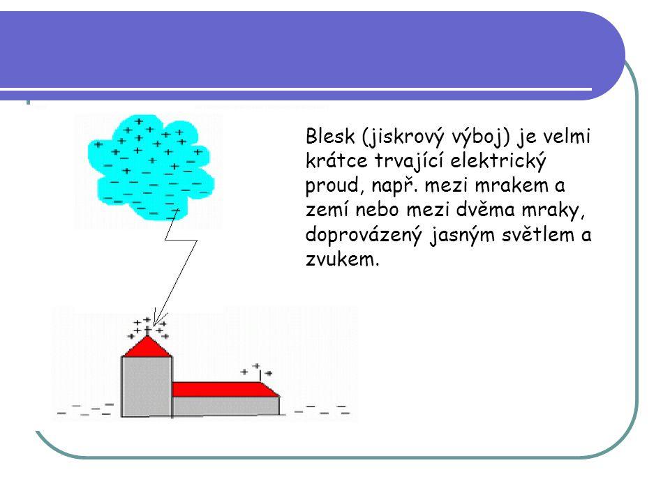 Blesk (jiskrový výboj) je velmi krátce trvající elektrický proud, např. mezi mrakem a zemí nebo mezi dvěma mraky, doprovázený jasným světlem a zvukem.
