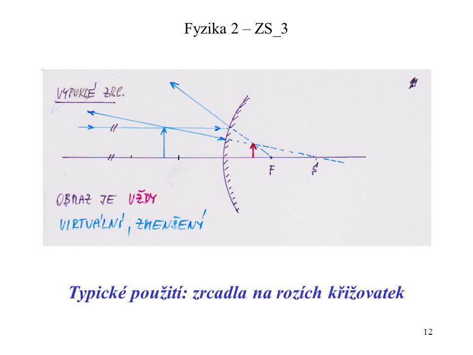 12 Fyzika 2 – ZS_3 Typické použití: zrcadla na rozích křižovatek