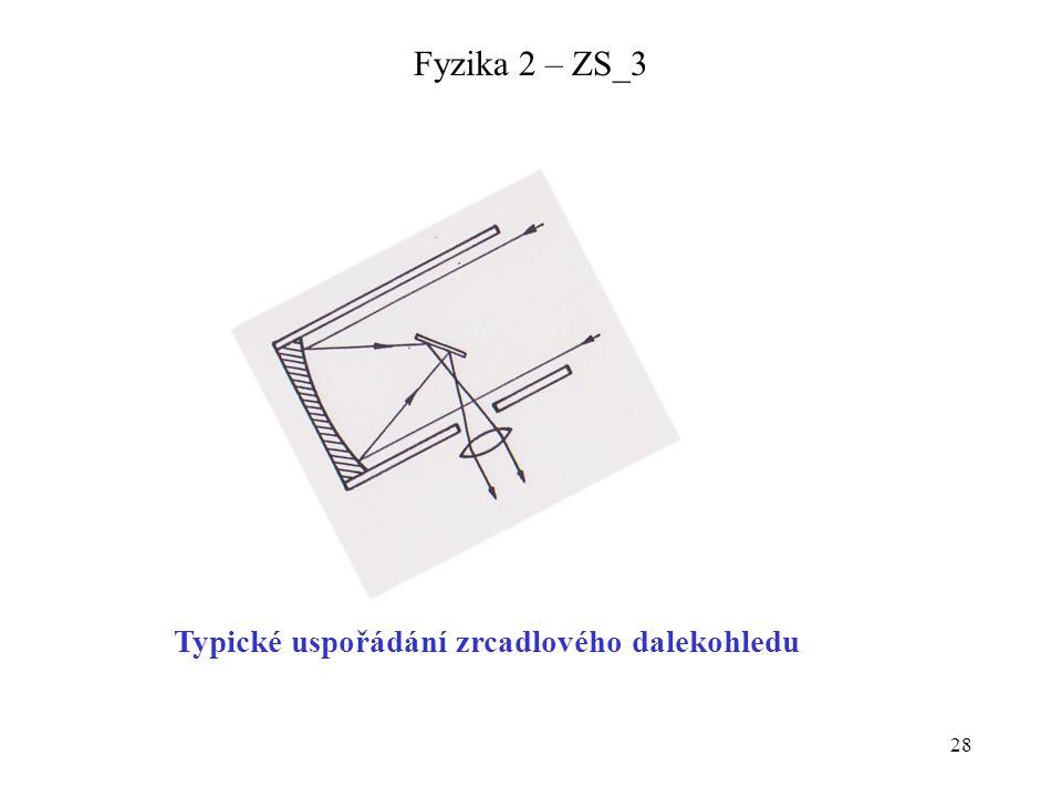 28 Fyzika 2 – ZS_3 Typické uspořádání zrcadlového dalekohledu