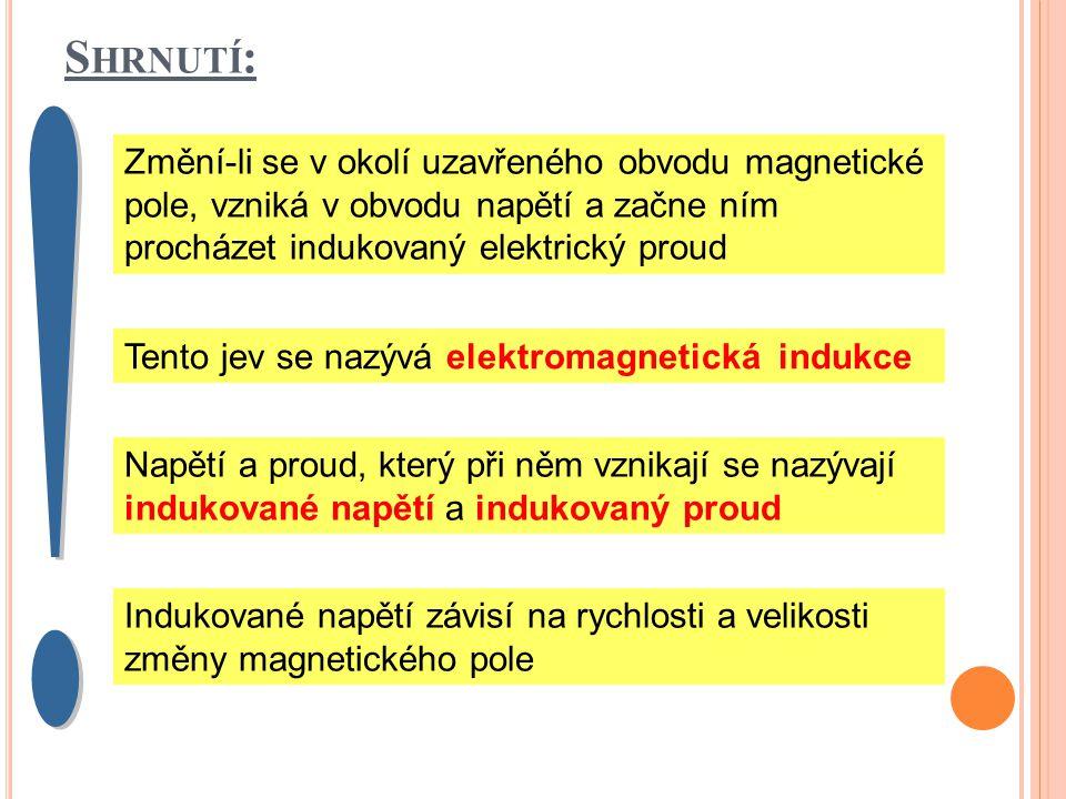 S HRNUTÍ : Změní-li se v okolí uzavřeného obvodu magnetické pole, vzniká v obvodu napětí a začne ním procházet indukovaný elektrický proud Tento jev se nazývá elektromagnetická indukce Napětí a proud, který při něm vznikají se nazývají indukované napětí a indukovaný proud Indukované napětí závisí na rychlosti a velikosti změny magnetického pole