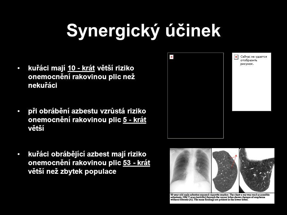 21 Synergický účinek kuřáci mají 10 - krát větší riziko onemocnění rakovinou plic než nekuřáci při obrábění azbestu vzrůstá riziko onemocnění rakovinou plic 5 - krát větší kuřáci obrábějící azbest mají riziko onemocnění rakovinou plic 53 - krát větší než zbytek populace