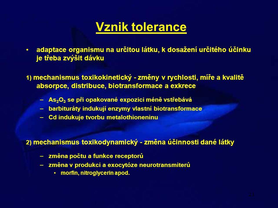 23 Vznik tolerance adaptace organismu na určitou látku, k dosažení určitého účinku je třeba zvýšit dávku 1) mechanismus toxikokinetický - změny v rych