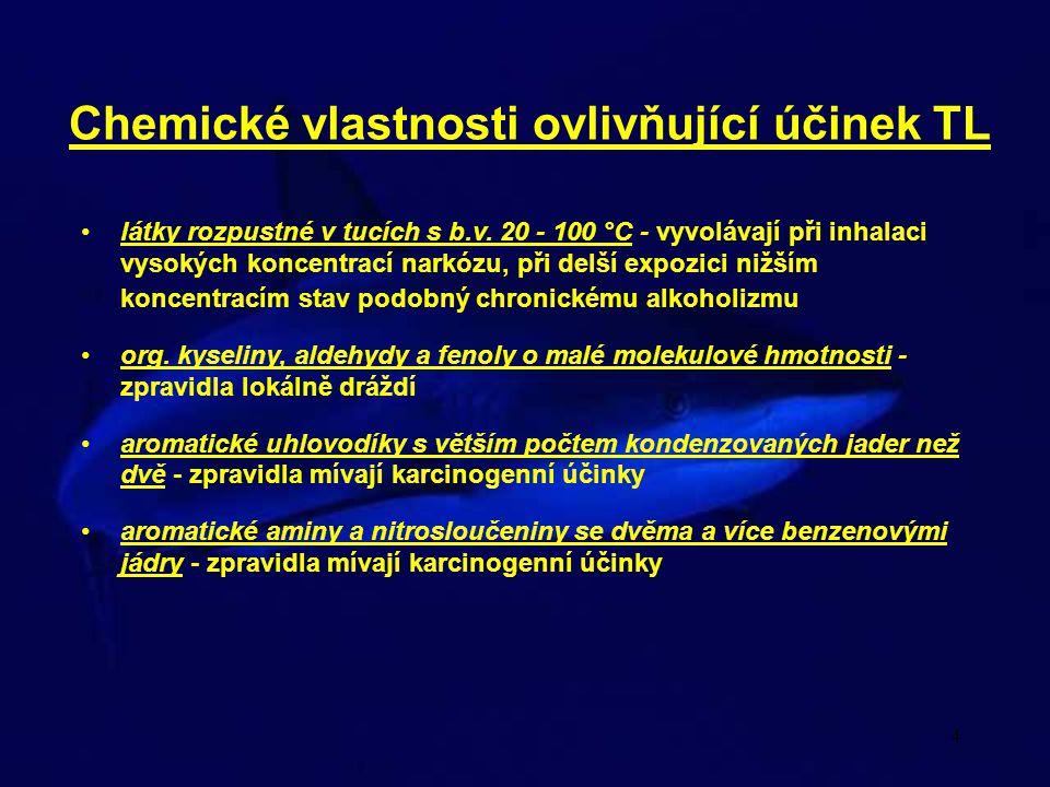 4 Chemické vlastnosti ovlivňující účinek TL látky rozpustné v tucích s b.v.