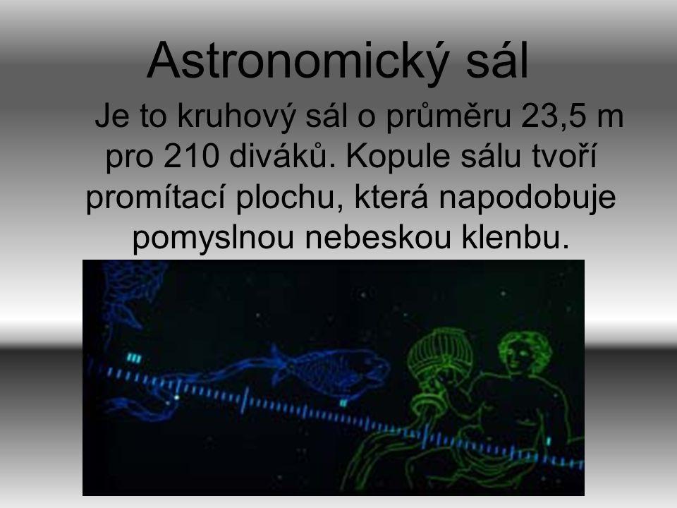 Astronomický sál Nabídka zahrnuje všechny věkové kategorie – od pohádek s astronomickou tématikou, přes pořady pro školy, speciální pořady pro vysokoškoláky, až po atraktivní audiovizuální pořady pro dospělé…