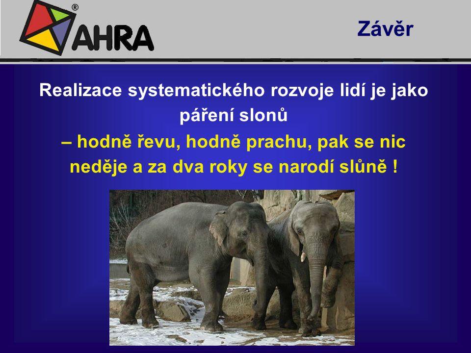 Realizace systematického rozvoje lidí je jako páření slonů – hodně řevu, hodně prachu, pak se nic neděje a za dva roky se narodí slůně ! Závěr