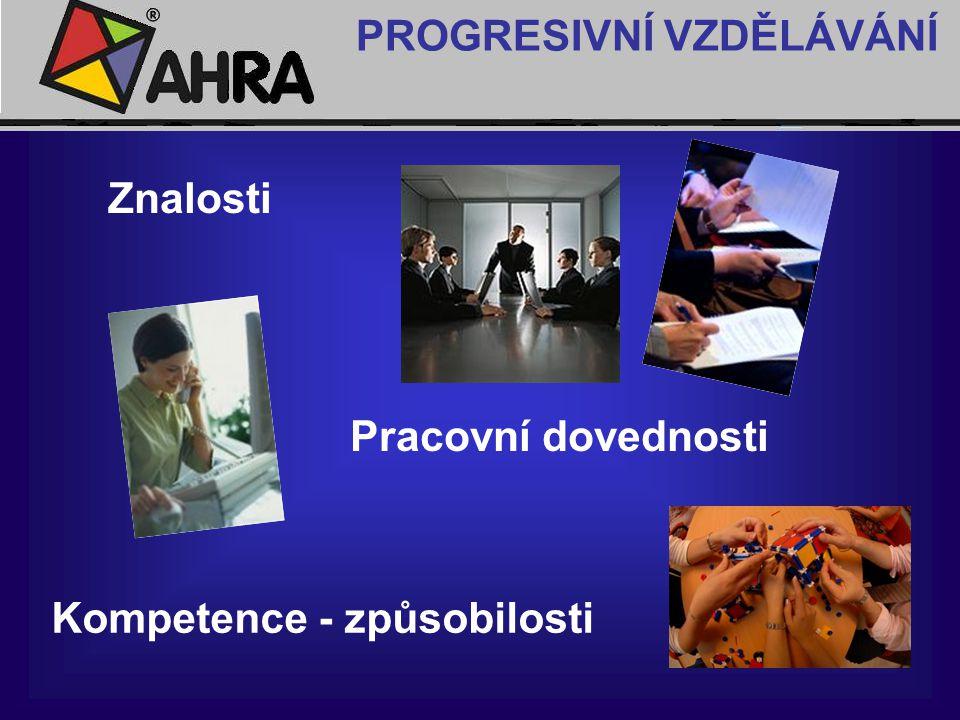 Znalosti Pracovní dovednosti Kompetence - způsobilosti PROGRESIVNÍ VZDĚLÁVÁNÍ