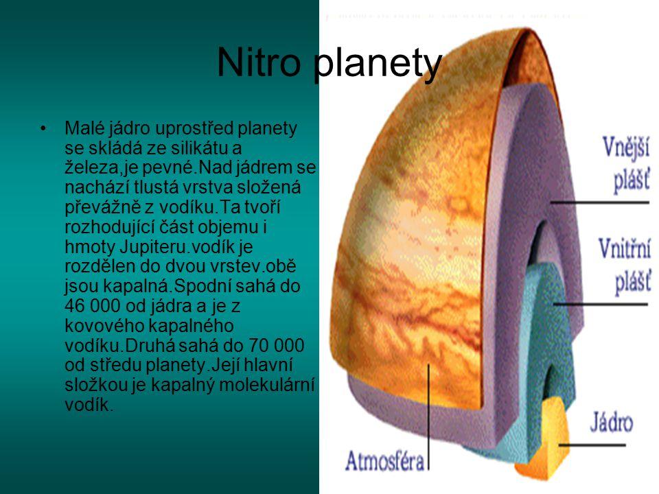 Nitro planety Malé jádro uprostřed planety se skládá ze silikátu a železa,je pevné.Nad jádrem se nachází tlustá vrstva složená převážně z vodíku.Ta tv