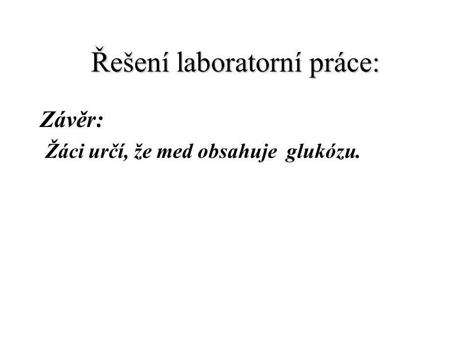 Řešení laboratorní práce: Závěr: Žáci určí, že med obsahuje glukózu.