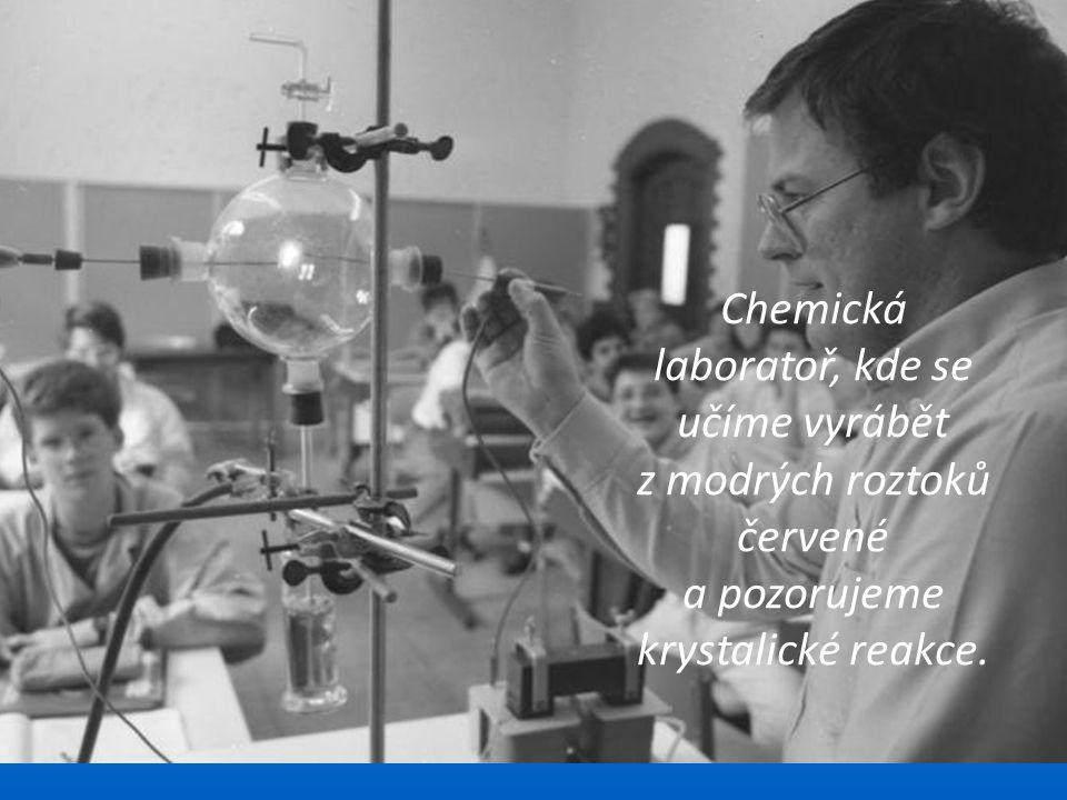 Chemická laboratoř, kde se učíme vyrábět z modrých roztoků červené a pozorujeme krystalické reakce.