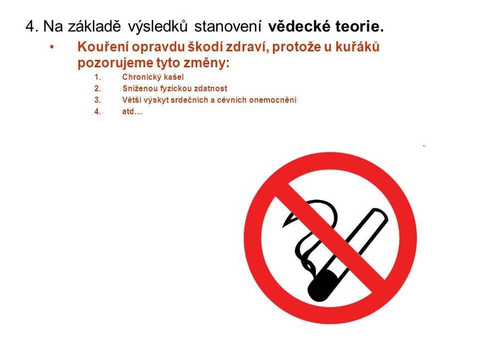4. Na základě výsledků stanovení vědecké teorie. Kouření opravdu škodí zdraví, protože u kuřáků pozorujeme tyto změny: 1.Chronický kašel 2.Sníženou fy