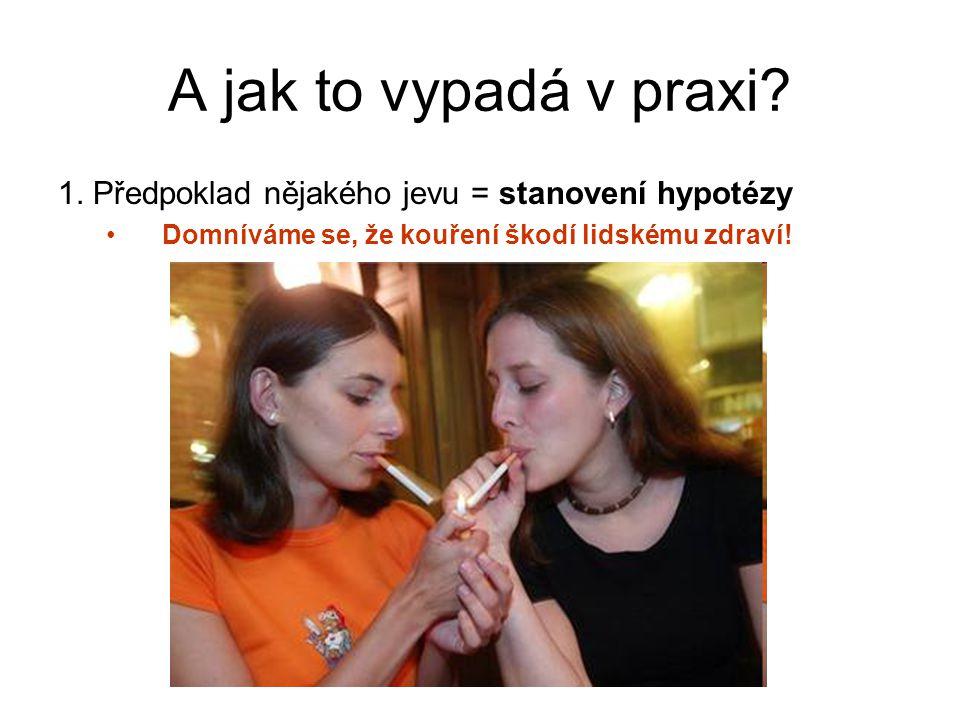 A jak to vypadá v praxi? 1. Předpoklad nějakého jevu = stanovení hypotézy Domníváme se, že kouření škodí lidskému zdraví!