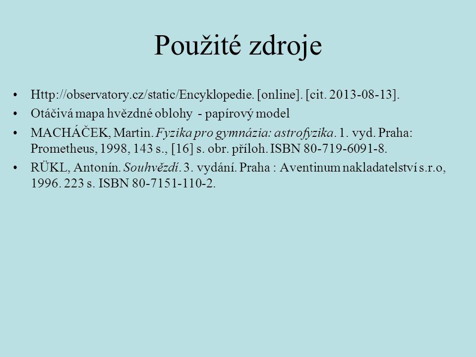Použité zdroje Http://observatory.cz/static/Encyklopedie.
