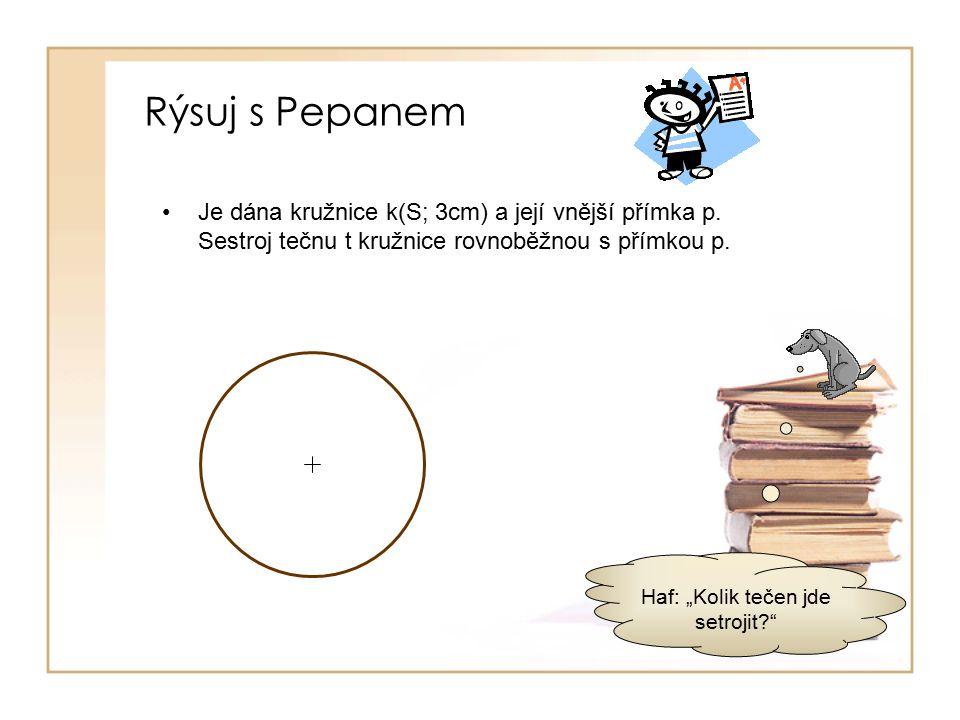 Rýsuj s Pepanem Je dána kružnice k(S; 3cm) a její vnější přímka p.