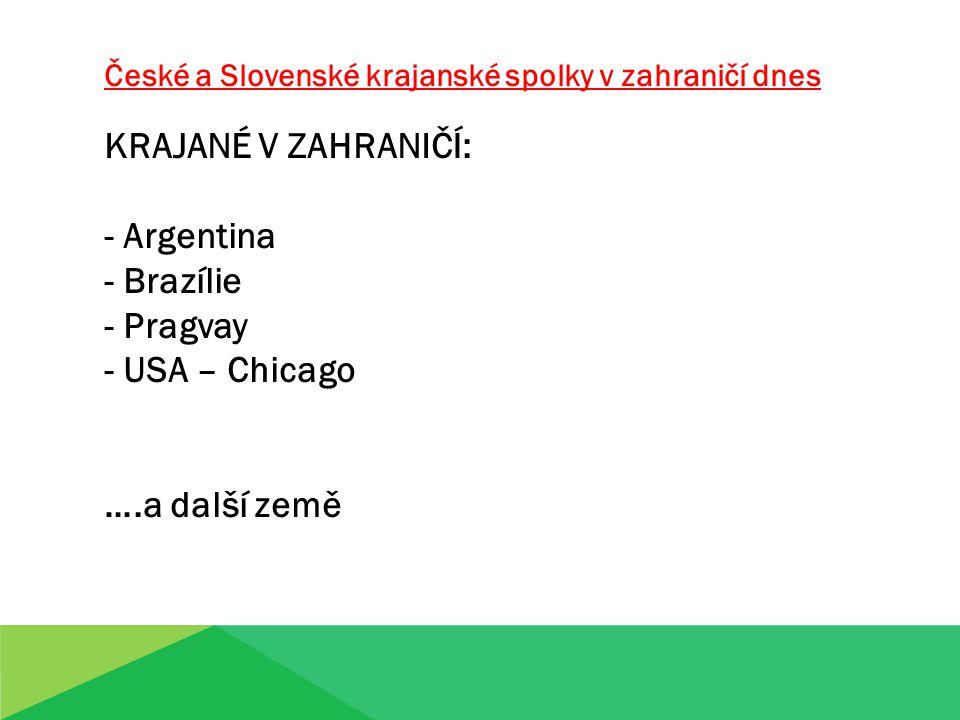 České a Slovenské krajanské spolky v zahraničí dnes KRAJANÉ V ZAHRANIČÍ: - Argentina - Brazílie - Pragvay - USA – Chicago ….a další země