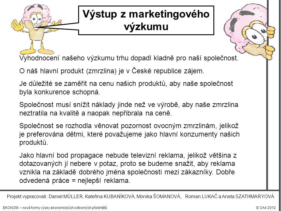 EKONOM – nové formy výuky ekonomických odborných předmětů© OA4 2012 Projekt vypracovali: Daniel MÜLLER, Kateřina KUBANÍKOVÁ, Monika ŠOMANOVÁ, Roman LUKAČ a Aneta SZATHMARYOVÁ Výstup z marketingového výzkumu Vyhodnocení našeho výzkumu trhu dopadl kladně pro naší společnost.