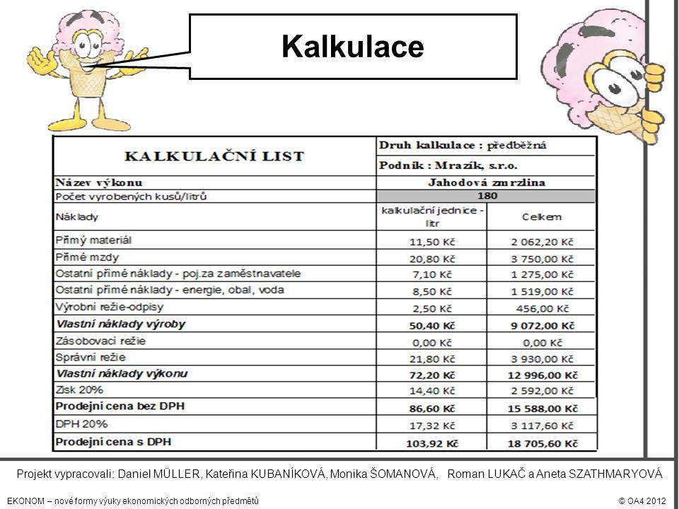 EKONOM – nové formy výuky ekonomických odborných předmětů© OA4 2012 Projekt vypracovali: Daniel MÜLLER, Kateřina KUBANÍKOVÁ, Monika ŠOMANOVÁ, Roman LUKAČ a Aneta SZATHMARYOVÁ Kalkulace