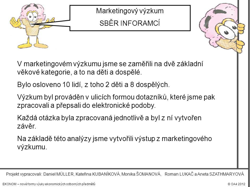 EKONOM – nové formy výuky ekonomických odborných předmětů© OA4 2012 Projekt vypracovali: Daniel MÜLLER, Kateřina KUBANÍKOVÁ, Monika ŠOMANOVÁ, Roman LUKAČ a Aneta SZATHMARYOVÁ Marketingový výzkum SBĚR INFORAMCÍ V marketingovém výzkumu jsme se zaměřili na dvě základní věkové kategorie, a to na děti a dospělé.