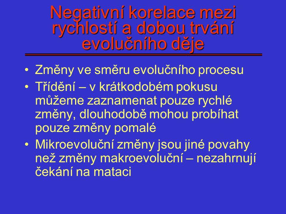 Negativní korelace mezi rychlostí a dobou trvání evolučního děje Změny ve směru evolučního procesu Třídění – v krátkodobém pokusu můžeme zaznamenat po