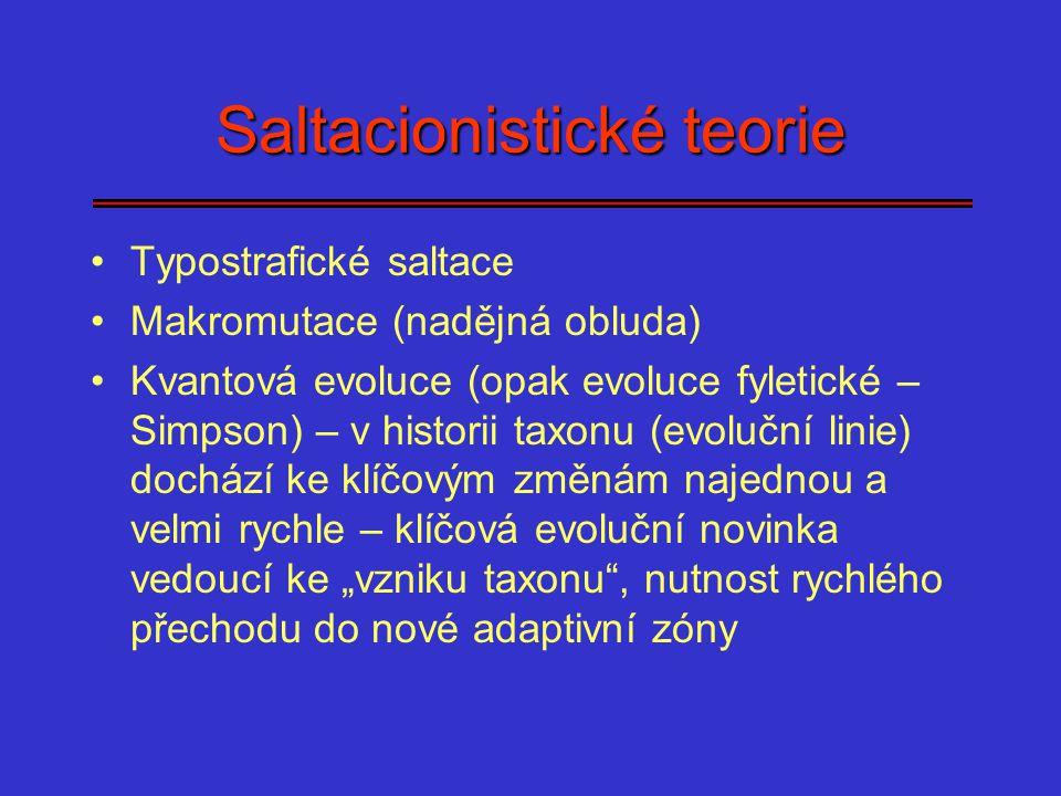 Saltacionistické teorie Typostrafické saltace Makromutace (nadějná obluda) Kvantová evoluce (opak evoluce fyletické – Simpson) – v historii taxonu (ev
